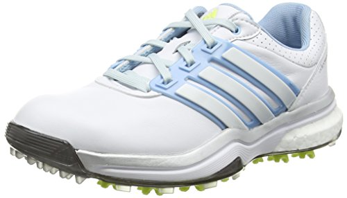 adidas Damen Adipower Boost Golfschuhe, Weiß (White/Soft Blue/Sunny Lime), 38 2/3 EU