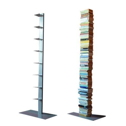 Single Bücherregal (booksbaum single stand gross silber, 3tlg. best.aus: Halterung + Fuß + Einlegeböden)