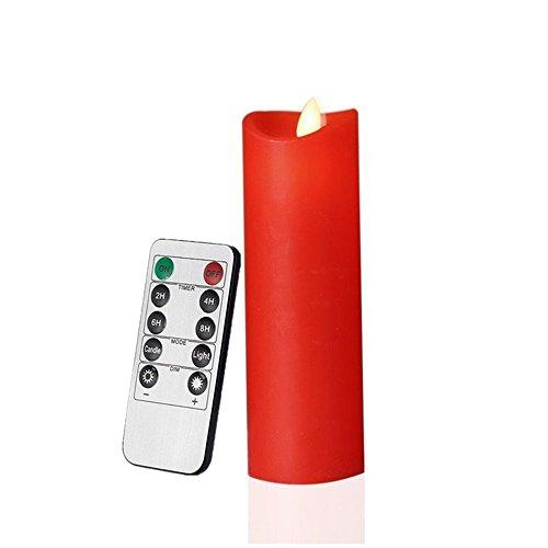 Akku Power Rauchfreie Dancing Flame Kerzen, dünn Säule Wachs Kerzen mit beweglichen Docht (rot, 5,5x 17cm) (Bulk-taper Kerzen)