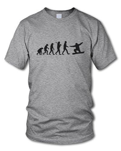 shirtloge - EVOLUTION SNOWBOARDER - KULT - Fun T-Shirt - in verschiedenen Farben - Größe S - XXL Grau-Meliert (Schwarz)