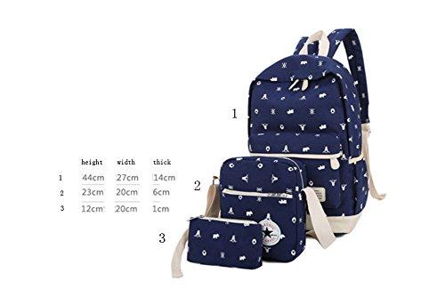Ohmais 3PCS Rücksack Rucksäcke Rucksack Backpack Daypack Schulranzen Schulrucksack Wanderrucksack Schultasche Rucksack für Schülerin grün
