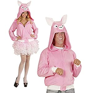 WIDMANN 07010?Adultos Disfraz Cerdo, Sudadera con Capucha, Color Rosa, tamaño S/M