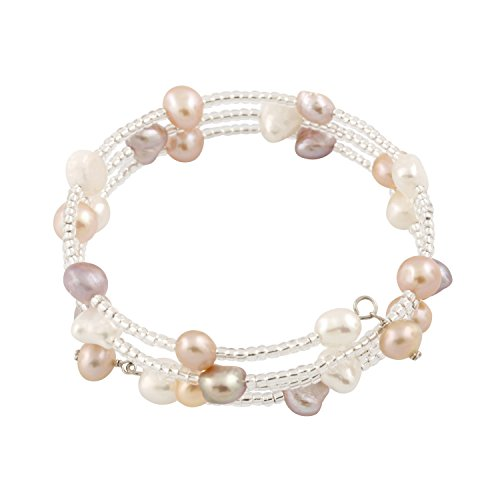 Bella Pearls -  Damen-Set Armband Silver Pearl Set
