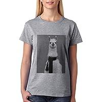 Unicorn-Maglietta da donna, motivo Lama - Grigio Lama