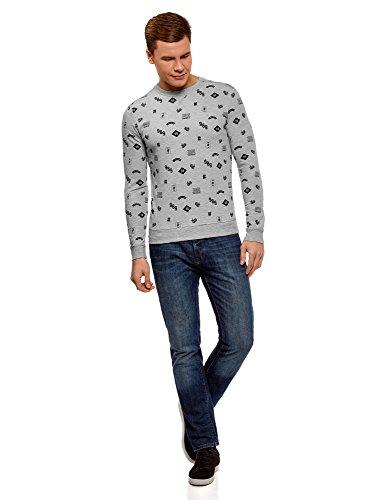 oodji Ultra Herren Bedrucktes Baumwoll-Sweatshirt Grau (2329G)
