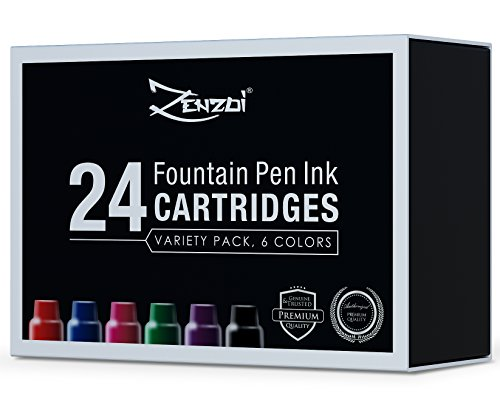 Füllfederhalter Nachfüllbare Tintenpatronen - GROßPACKUNG MIT 24 Tintenpatronen 6 Farben Blau Rot...