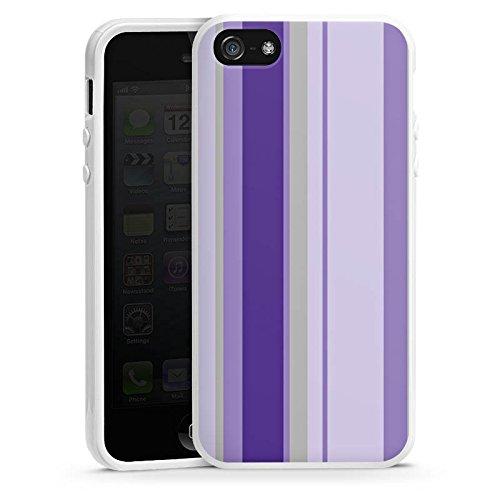 Apple iPhone 5s Housse Étui Protection Coque Bandes Lilas Violet Housse en silicone blanc