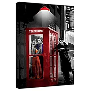 Marilyn Monroe Elvis Presley James RED Phone Box ON Framed Canvas Wall Art Home Decoration Ready to Hang 12''x 8''inch -38mm Depth