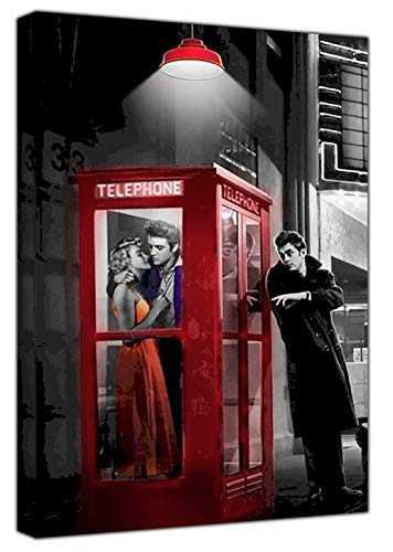 Marilyn Monroe Elvis Presley James Telefon-Kasten mit Rahmen für Leinwand Kunstdruck, rot, 30 x 20 inch -18mm depth (Und Presley Monroe Elvis Marilyn)