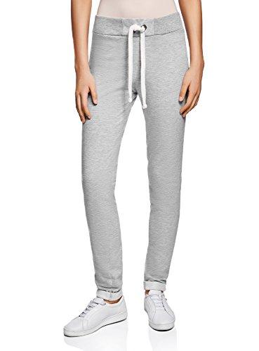 oodji Ultra Damen Jersey-Hose im Sport-Stil mit Dekorativen Bindebändern, Grau, DE 44 / EU 46 / XXL