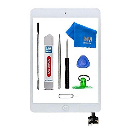 MMOBIEL Digitizer Display Glas für iPad Mini 1/2 (Weiss) 7.9 Inch Touchscreen Ersatzteil Inkl Flex Home Button + Kamera Halterung + Klebesticker mit IC Chip und Werkzeugset mit Anleitung (Ipad 1 Digitizer)