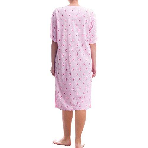 Lucky chemise de nuit pour femme avec imprimé de fleurs et broderie décorative de qualité Rose - Rose