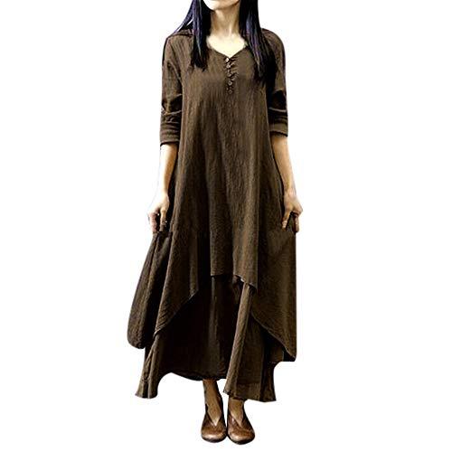 XNBZW Boho Kleid Frauen Casual Unregelmäßige Maxi Kleider Solide Vintage Lose Langarm Baumwolle Leinen Oansatz Mode Sommer Kleid Kaffee 3L