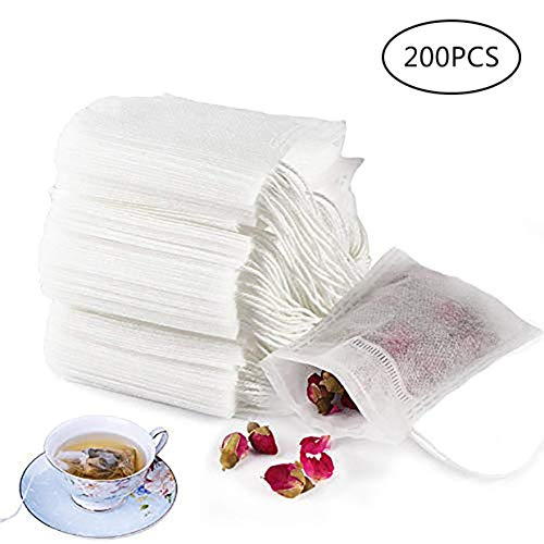 Qinling 200 PCS Tea Filter Bags, Disposable Tea Infuser Bags Paper Empty Tea Bags Drawstring Loose Leaf Tea Bag Herb Filter Bag 2.75 X 3.54 Inch