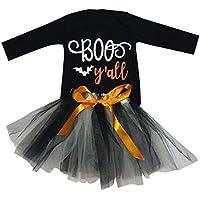 Wedding Party Birthday Dress Camisetas de Manga Larga de Mameluco con Letras de Halloween para niñas pequeñas + Falda de Tul con Lazo