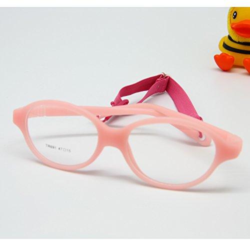 EnzoDate ein Stück Kinder Brille nicht - Deine Brille Linsen normalen, faltbar und Gurt, nachhaltige in Sicherheit Kinder Kunststoff Brille Frame, Größe 47/15