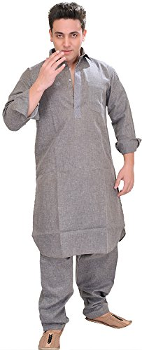 Exotic India Plain Pathani Kurta Salwar with Thread Embroidery on Neck -...
