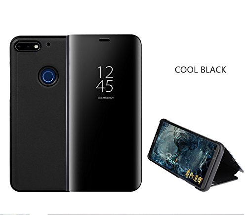 Huawei Honor 10 Lite Cover Luxury Mirror Flip Custodia Cover Smart View per Huawei Honor 10 Lite (Nero)