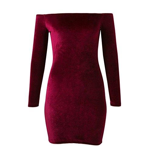 Moresave - Robe - Moulante - Femme rouge vin