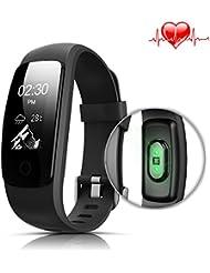 Montre Cardio, LASUAVY IP67 étanche Fitness Bracelet Montre Connectée Cardiofréquencemètre /sommeil Analyse/compteur de calories/SMS/Activité Tracker Podomètre pour Android IOS, Noir