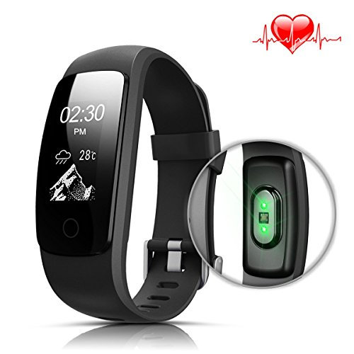 Fitness Tracker HR, LASUAVY Fitness Armband Uhr mit Pulsmesser - IP67 Wasserdicht Sport Fitness Tracker mit Herzfrequenz Bluetooth Touchscreen Armbanduhr / Schlafanalyse / Kalorienzähler/ SMS / Aktivitätstracker Schrittzähler - Smart Fitness Armband für Android iOS, Schwarz