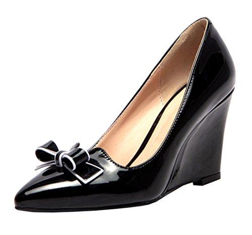 f3f3960b65d9ad YE Damen Bequeme Elegant High Heels Spitze Lack Pumps mit Keilabsatz und  Schleife 7cm Absatz Schuhe