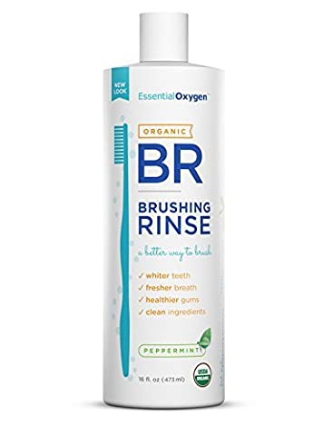 Essential Oxygen Organic Brushing Rinse Toothpaste Mouthwash for Whiter Teeth, Fresher Breath, and Healthier Gums, Peppermint 16 fl. oz by Essential Oxygen
