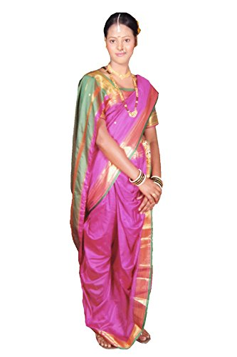 Bhartiya Vastra Bhandar Women's Ready To Wear Nauvari Saree(DNo4_Paithani_Multi-Coloured_FreeSize)