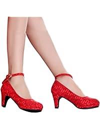 ALUK- Zapatos de novia - zapatos de boda rojo tacones altos con encaje grueso en los zapatos de la boda (con altos 6 cm) ( Color : Rojo , Tamaño : 36 )