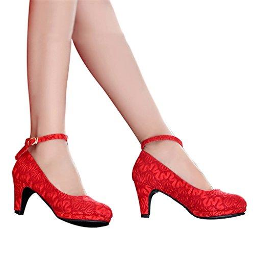 Aluk- scarpe da sposa - scarpe da sposa rosso tacchi alti con pizzo spessore nelle scarpe da sposa (con alta 6cm) ( colore : rosso , dimensioni : 39 )