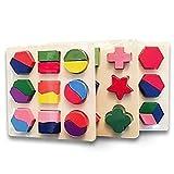 MIMOO Diseño Divertido 3 Piezas Niños BabyWooden Inteligencia Geometría Bloques de Construcción Rompecabezas Montessori Early Educational Toy