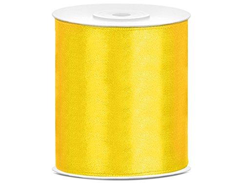 SiDeSo® Satinband 25m x 100mm viele Farben Hochzeit Dekoband Geschenkband Antennenband Schleifenband (gelb)