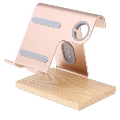 MagiDeal Ladestation aus Holz Handy Halter Dockingstation mit Armband Halterung für iWatch, iPhone - Gold