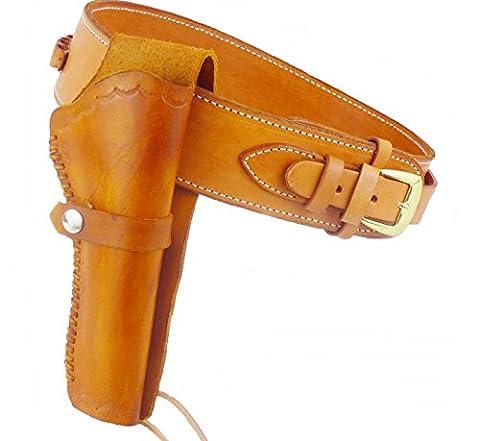 Ceinture + holster avec passants de Cartouche Western en cuir de vachette marron clair hellbraun/tan Taille 40