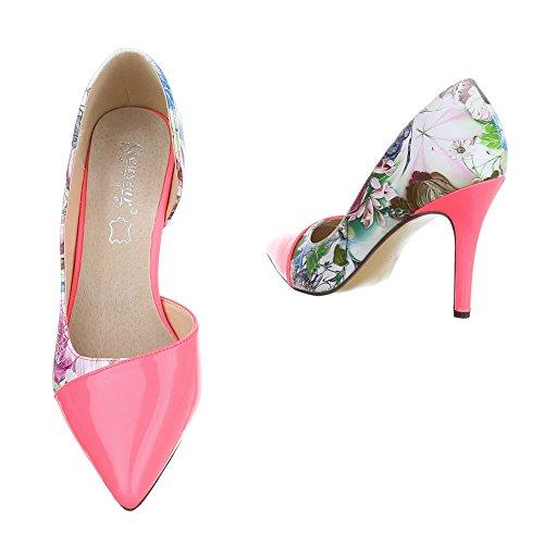 High Heel Damenschuhe Plateau Pfennig-/Stilettoabsatz High Heels Ital-Design Pumps Rosa Multi