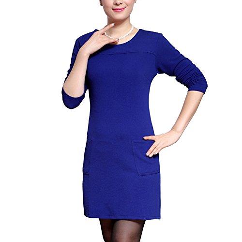 Robe Vintage MiniRobe Blouse Chemise Top Manches 3/4 Fleurie Imprimée Confortable et Elégant Bleu