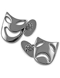Select Gifts Sterling Silver comedia y tragedia máscara gemelos