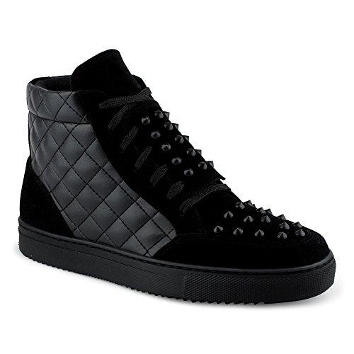 FiveSix Herren Sportschuhe High Top Sneaker Nieten Basketballschuhe Gesteppt Velours-Optik Freizeitschuhe Schuhe Schwarz EU 44 (Nieten Herren)