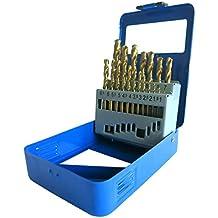 S&R Metallbohrer Set 19 Stk : 1,0 - 10 mm, 135°, DIN 338, geschliffen, HSS TITANIUM, Nitrit-Titan-Beschichtung, Metallbox.Profi-Qualität