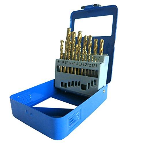 S&R Metallbohrer Set 19 Stk : 1,0-10 mm, 135°, DIN 338, geschliffen, HSS TITANIUM, Nitrit-Titan-Beschichtung, Metallbox.Profi-Qualität