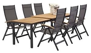 7 teilige bukatchi gartenm bel gruppe 6 x klappsessel kendo anthrazit mixed taupe. Black Bedroom Furniture Sets. Home Design Ideas