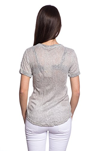 Abbino 8432 Shirts Tops Damen - Made in Italy - 6 Farben - Übergang Frühling Sommer Herbst Damenshirts Damentops DamenT-shirts Lässig Langarm Sexy Freizeit Elegant Baumwolle Fashion - One size Grau