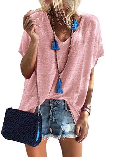 Damen Kurzarm T-Shirt V-Ausschnitt Casual Sommer Lose Shirt Oversize Oberteile Rosa DE 38 -