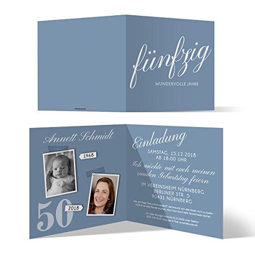 30 x Runder 50. Geburtstag Einladungskarten Geburtstagseinladungen - Fünfzig wundervolle Jahre