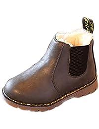 Enfants garçons filles hiver neige chaude cheville bottes zip enfant Chelsea chaussures marron Wphbz