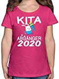 Einschulung und Schulanfang - Kita Abgänger 2020 rennender Hase mit Schultüte - 164 (14/15 Jahre) - Fuchsia - F131K - Mädchen Kinder T-Shirt