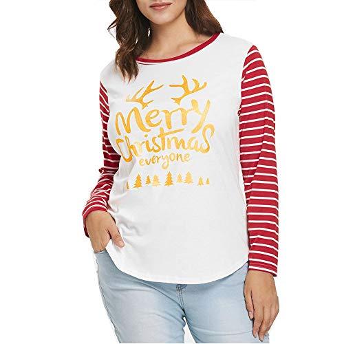 (Weihnachten Kleidung Dasongff Damen Mode Weihnachten Bluse Oberteil Frauen Brief Santa Drucken Langarmshirts T-Shirt Blusen …)