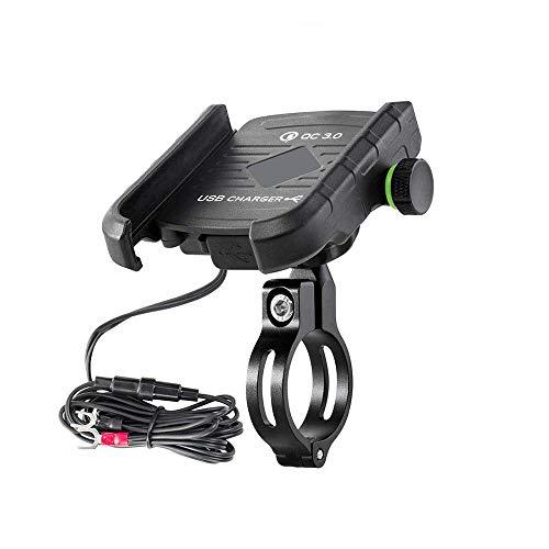 Fankr Motorrad-Handyhalterung Mit Ladegerät 12V-24V 3.4A USB-Anschluss Schnellladung Einstellbar Wasserdicht Am Lenker Installieren Spiegelstange, Handyhalter Anzug Für Alle 4