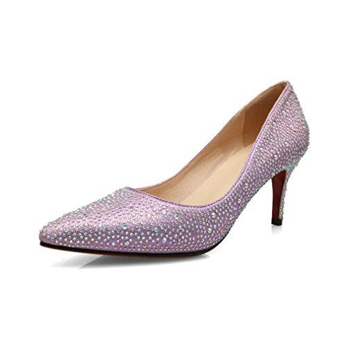 Damen Slipper Leicht Einfach Schick Strass Low-top Atmungsaktive Rutschfest Abriebfeste Trichterabsatz Bequem Halbschuhe Pink