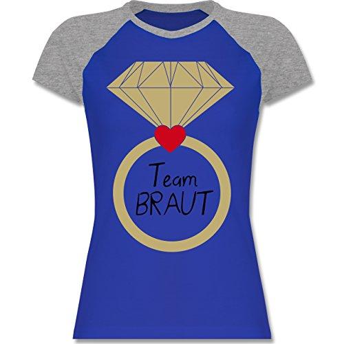 JGA Junggesellinnenabschied - Ring Team Braut Herz - zweifarbiges Baseballshirt / Raglan T-Shirt für Damen Royalblau/Grau meliert